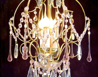 """Chandeliers lighting ~ Soft Baby PINK CRYSTAL CHANDELIER 14"""" X 20"""" Brass / Gold 4 Lights ~ Home and Living"""