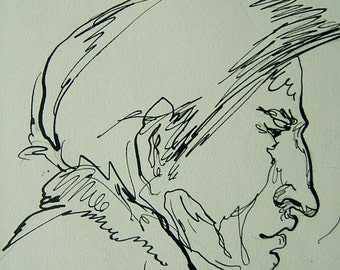 Interesting American Man Profile; a sketch by D. Messenger, ca. 1950, two sizes of copies on acid free paper.