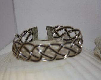 Fine Silver Open Weave Cuff Bracelet w/Blue
