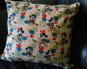 "18"" X 18"" Mickey Mouse Throw Pillow / Mickey Mouse Sofa Pillow / Comic Book  Pillow / 18"" X 18"" Movie Accent Pillow / Disney Pillow"