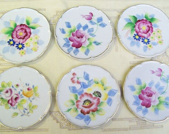 Antique Vintage 1930's-1940's Set of Six HAND PAINTED COASTERS – Ceramic – Beautiful Floral Designs – Made in Japan -