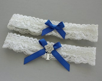Something Blue Wedding Garter SET, Personalized Garter Set, Royal Blue Garter, Lace Garter with Silver Initial - Ivory, White, or Off White