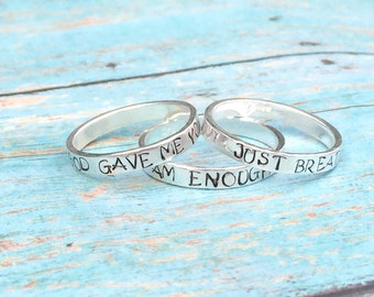 Special saying - ring Sterling silver stacking ring personalized  - hand stamped ring - very sturdy ring - great gift - fun piece of jewelry