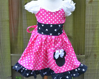 Inspired by Minnie Mouse Dress and Ears, Inspired Minnie Mouse Birthday Dress and Ears