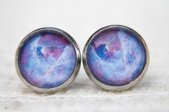Purple Space Earrings Galaxy Solar System Purple Earrings