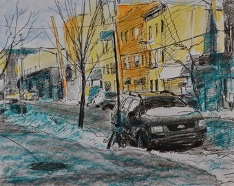 Original Drawing, Pen and Ink,  Brooklyn Street Scene by Robert Lafond