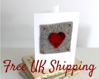 Heart Card - love card, anniversary card, valentines day card, valentine card, wedding card, valentines card, handmade card, red, needlefelt