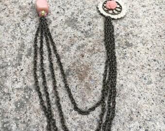Quarts rose necklace