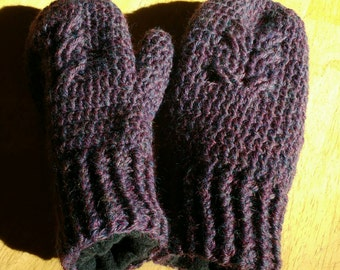 Owl mittens - crocheted wool with fleece lining