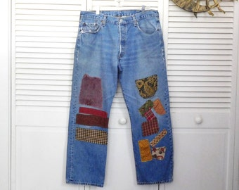 Levi Jeans Patched Upcycled Clothes High Waisted Boyfriend Plus Size 38 30 Patchwork Pants Denim Womens 16  patchwork Grunge OOAK USA Hippy