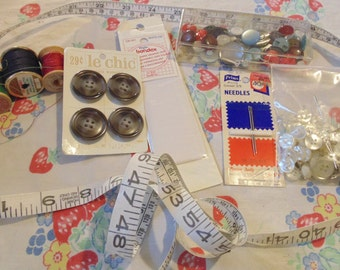 Vintage Sewing Supplies Sewing Lot Sewing Destash Vintage Buttons Needles Sewing Items Notions