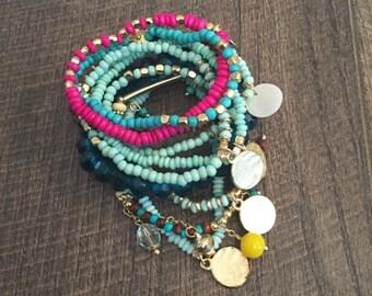 Multi Colored Gypsy Bangle Set