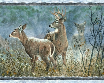 "Winter Whispers Multi Deer Nature Outdoors 30"" Panel Wilmington Prints #5459"