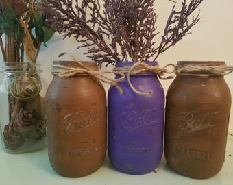Distressed Brown, and Purple Mason Jar, Painted Mason Jar, Wedding, Baby Shower