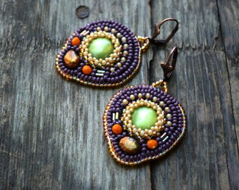 Purple green bead embroidery earrings Bead embroidered Dangle earrings Holiday Beadwork statement earring Beaded embroidered Gift for mom