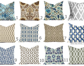 Outdoor Pillows or Indoor Custom Cover - Shades of Blue, Royal Blue, Grey Taupe Ivory Ikat Lattice Modern All sizes