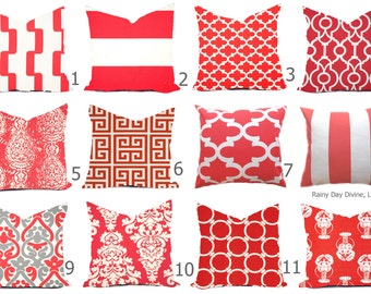 Outdoor Pillows or Indoor Custom Cover - Shades of Coral Red/Pink White Nautical Modern Geometric Tribal 18x18, 16x16