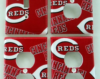 Cincinnati Reds Light Switch Plate Outlet Cover Wall Decor Bundle Set
