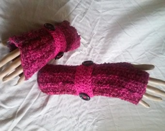 Crochet Fingerless Gloves-Thick and Cozy Pinks N Grays