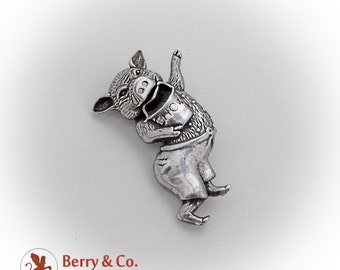 Dancing Pig Brooch Pin Sterling Silver 1980