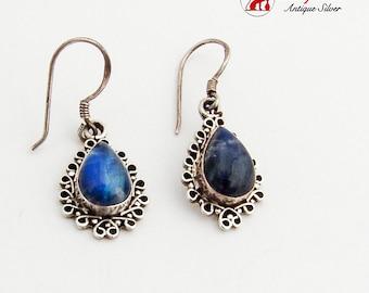 Teardrop Moonstone Dangle Earrings Ornate Frame Sterling Silver