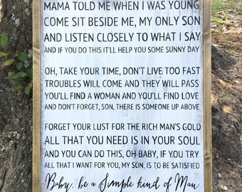 Simple Man Lyrics sign|Farmhouse|Handpainted| Lyrics Sign| Distressed| Gift