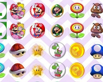Super Mario Brothers Inspired Bottle Cap Cabochon Bubble Images Printable Instant Download