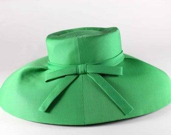 Santa Eulalia Vintage 50's Wide Brimmed Hat Green
