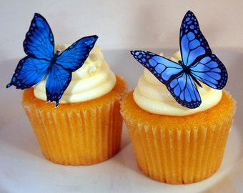 Edible Butterflies Wedding Cake Topper, Blue and Black Edible Butterflies Set of 12 DIY Cake Decor, Edible Cake Decorations, Cupcake Toppers