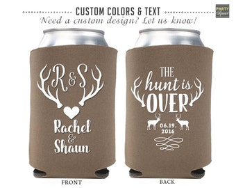 Wedding reception drink coolers, Hunt is Over, Can Coolers, Rustic Wedding, Soda Can Covers, Custom Reception Favor, Beer Can Cozie, Antlers