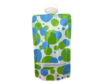 Reusable Baby Food Pouch | 5, 10 or 20 Pack | Green/Blue Polka Dot