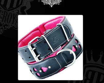 Leather Dog Collar  - Queen of Hearts with Swarovski Crystals
