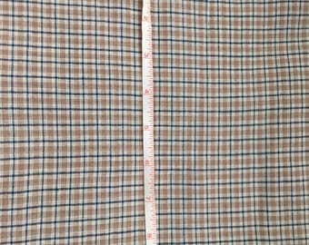 Tan, White, and Blue Checkered Fabric Cotton 1/2 yard by 44""