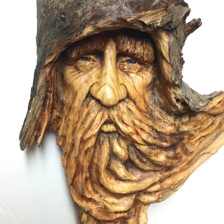 Wood spirit carving hand carved art original