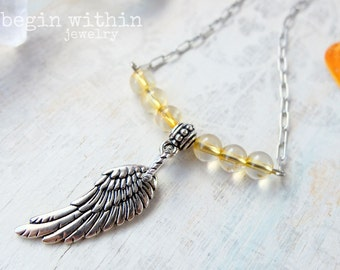 Archangel Gabriel Necklace / Angel Wing Necklace / Silver Citrine Angel Necklace / Angel Wing Jewelry