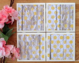 Ceramic Tile Coasters - Coaster Set - Table Coasters - Yellow Coasters - Coaster - Tile Coaster - Rustic Coaster - Coasters for Drinks
