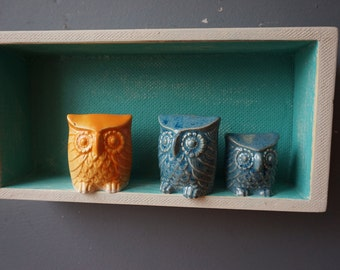 Ceramic OWL / Vintage Owl / Shelf sitter / Home decor / Small Gift / Orange