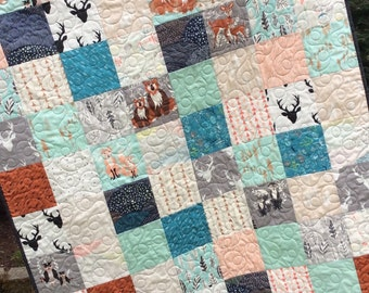Baby quilt, gender neutral, toddler quilt, modern child's quilt, deer head, Buck horns, bear, fox, arrows, navy brown teal,
