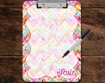 CLIPBOARD - Chevron Beach Ice Cream Colorful Double Sided Gift for her Custom Personalized Monogram