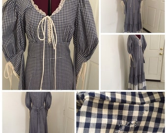 Vintage Gunne Sax Maxi Dress Blue Gingham Blue Boho Hippie Rennaisance Corset