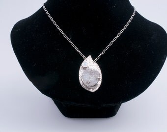 Sterling Silver Blue-Gray Drusy Pendant