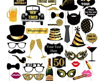 EDITABLE 50th Birthday Party Props, Printable Photo Booth Props INSTANT DOWNLOAD, 50th Party Props, Fiftieth Birthday, 50th Party Photobooth