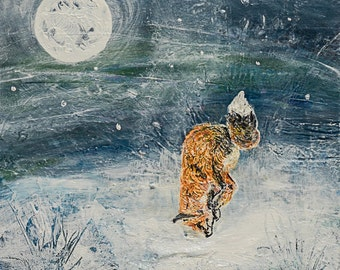 Fox hunting by moonlight in the snow, 'Snow Diving', a mounted limited edition digital print from an original mixed media.