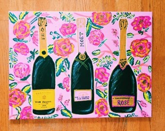 Champagne Floral Jumbo Canvas
