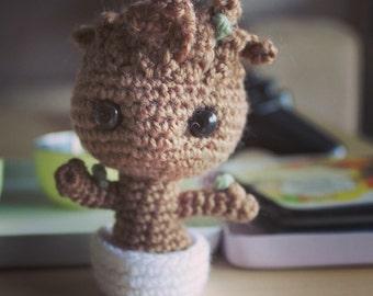 Baby Groot Amigurumi Crochet Plush Guardians of the Galaxy Doll