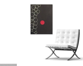 Abstract art, contemporary art, art, black, circles, white, red