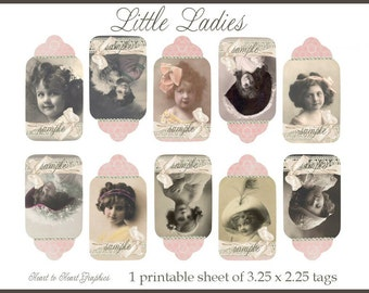 Little Ladies - Printable Sheet of Tags for Scrapbooking and Paper Crafts