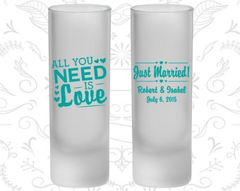 All you need is love, Frosted Tall Shot Glasses, Just Married (527)