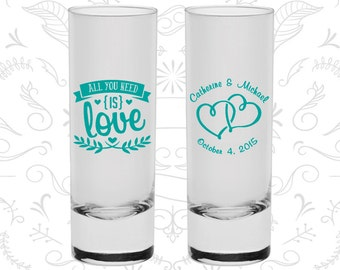 All you Need is Love Shooters, Wedding Favor Shooters, Love Wedding, Romantic Wedding Shooters, Hearts, Tall Shot Glasses (409)