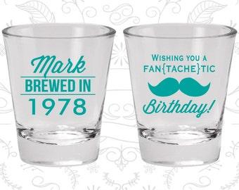 40th Birthday Shot Glasses, Promotional Birthday Glasses, Mustache Birthday, Birthday Shot Glasses (20119)